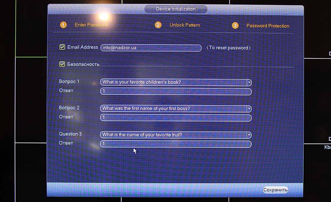 Настройка видеорегистратора Dahua через монитор