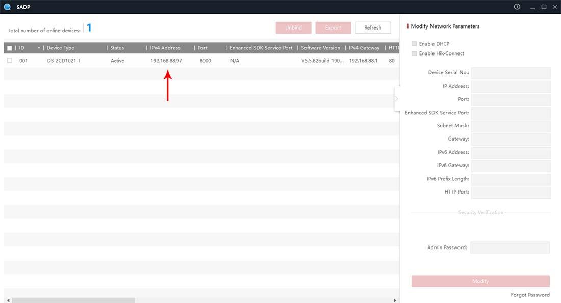Как узнать IP адрес камеры Hikvision через SADP Tool