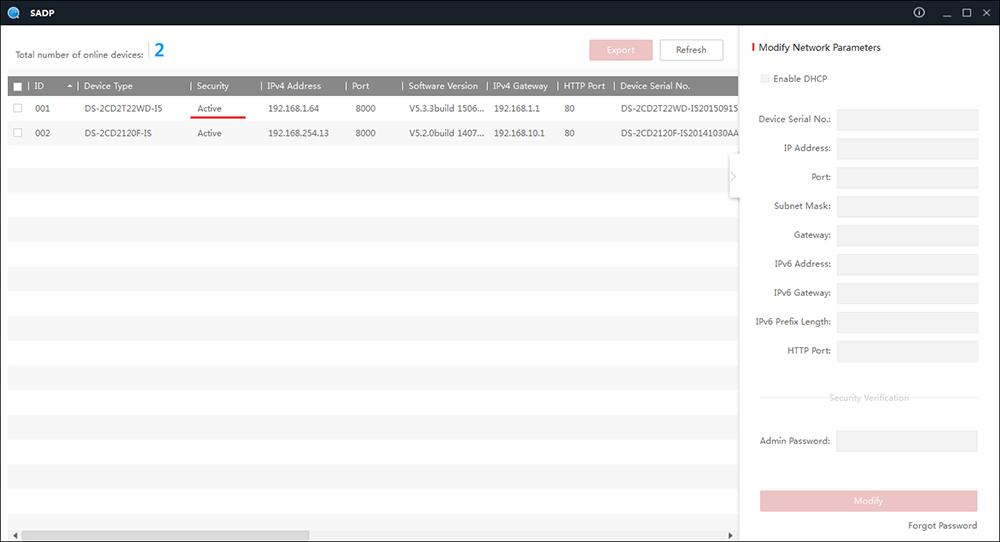 Сброс пароля на камерах и видеорегистраторах Hikvision через SADP Tool.